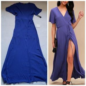 Nwt Lulus Much Obliged Maxi Wrap Dress blue M